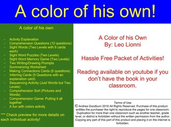 A Color of His Own: Leo Lionni - Book Study, Centers, Comprehension, Special Ed
