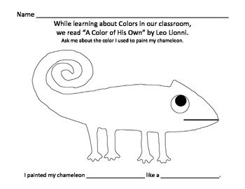 a color of his own by leo lionni chameleon painting activity - A Color Of His Own Book