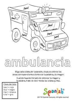 Syllable Segmentation - A Colorear! (Spanish Version)