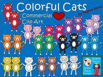 A+ Colorful Cats Commercial Clip Art