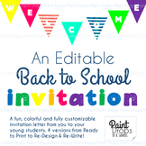 A Colorful & Editable BACK TO SCHOOL INVITATION LETTER Fro
