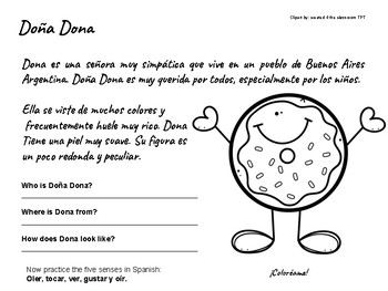 A Coloring Activity in Spanish (A short Reading Passage)