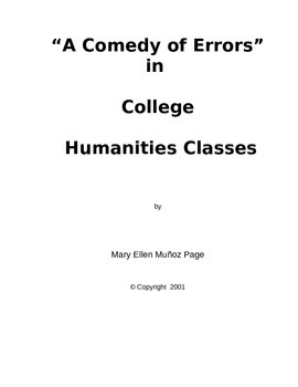 A 'Comedy of Errors' in College Humanities Classes