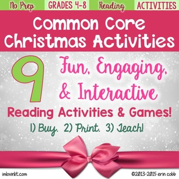 christmas activities for reading grades 4 8 by lovin lit tpt. Black Bedroom Furniture Sets. Home Design Ideas