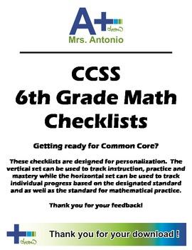 A+ Common Core Standards Checklist - 6th Grade Math