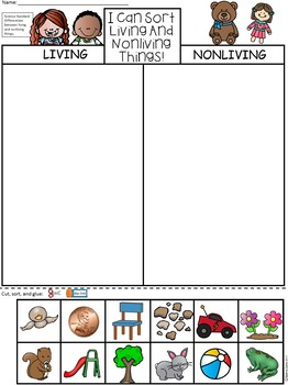 A+ Comparing Living and Nonliving Things Song, Sorting Sheet and Large Cards