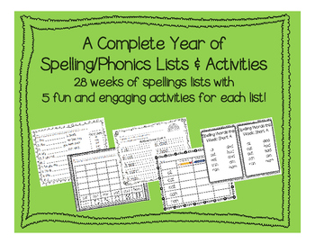 A Complete Year of Spelling Lists and Activities