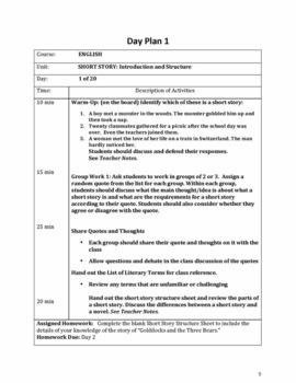 A Comprehensive Short Story Unit Plan