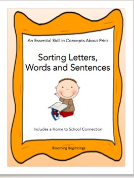 A Concepts About Print Skill: Sorting Letters, Words and Sentences