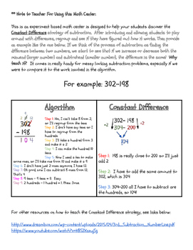 A Constant Difference Subtraction Strategy Math Center