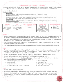 Common Core Reader's Workshop Minilessons - Unit 3: Text Structure/Features