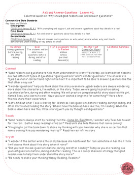 Common Core Reader's Workshop Minilessons - Unit 5: Ask & Answer Questions
