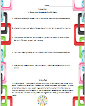 A Corner of the Universe Reading Passage with Questions and Writing Prompt