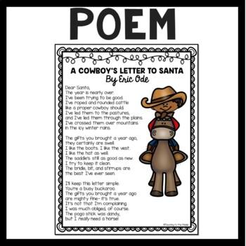 A Cowboy's Letter to Santa, poem, Reading Comprehension Worksheet,  Christmas