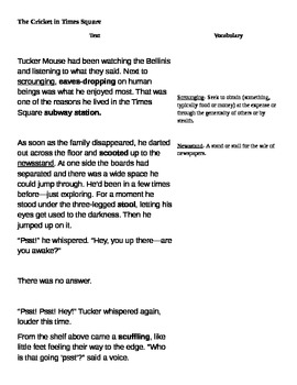 A Cricket in Times Square (excerpt) Close Read Lesso