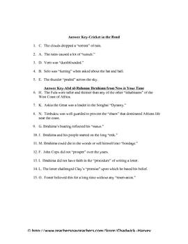 A Cricket in the Road/Abd al-Rahman Ibrahima Vocabulary Quiz Worksheet