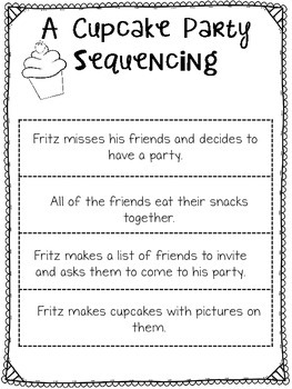 A Cupcake Party Sequencing Activty
