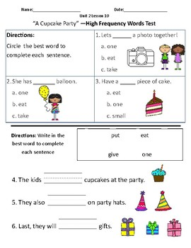 A Cupcake Party - Vocabulary & Comprehension Test/Quiz (Journeys)