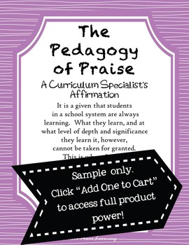 A Curriculum Specialist's Affirmation (Professional Development)