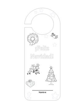 A Cut and Color Project ~ Feliz Navidad Christmas Door Hanger Activity