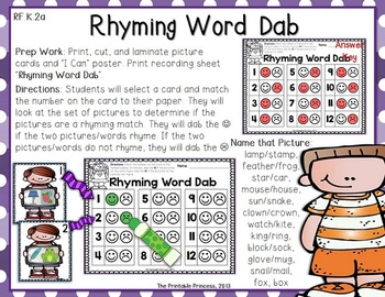 Kindergarten Literacy Centers {Using Bingo Dabbers}