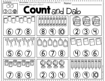 Kindergarten Math Centers {Using Bingo Dabbers}