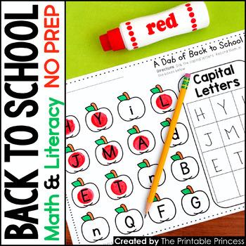Kindergarten Back to School Literacy & Math Activity Pages