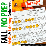 Fall Activities NO PREP Pages Literacy and Math Activities for Kindergarten