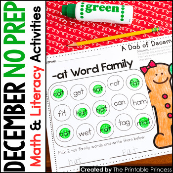 December NO PREP Pages {Literacy and Math Activities for K