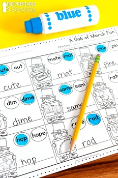 March Activities Literacy and Math NO PREP Pages for Kindergarten