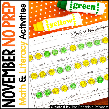 November NO PREP Pages {Literacy and Math Activities for Kindergarten}