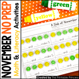 November NO PREP Pages {Literacy and Math Activities for K