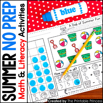 Summer Activities NO PREP Pages {Literacy and Math Activities for Kindergarten}