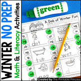 Winter NO PREP Pages {Literacy and Math Activities for Kindergarten}