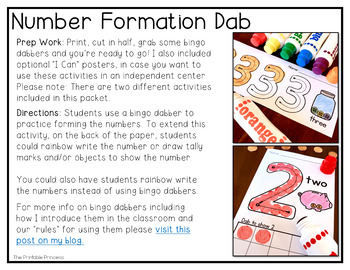 Number Formation Practice: No Prep Bingo Dabbers Pages (0-20)