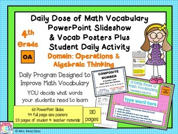 Operations in Algebra Math Word Wall Posters Plus PPT Slideshow (4th Grade)