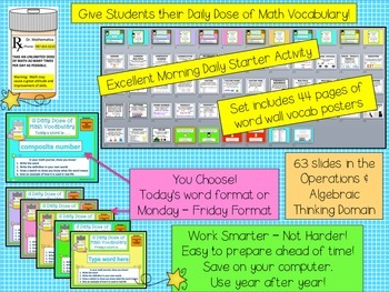 Math Word Wall Plus PPT Slideshows Operations in Algebra (4th Grade)