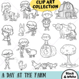 A Day At The Farm Clip Art Collection (BLACK AND WHITE ONLY)