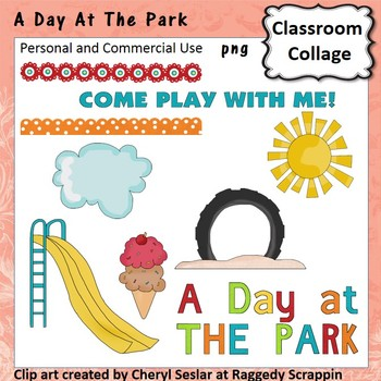 A Day At The Park - Color - pers/com  slide playground tire sand cloud C. Sesler
