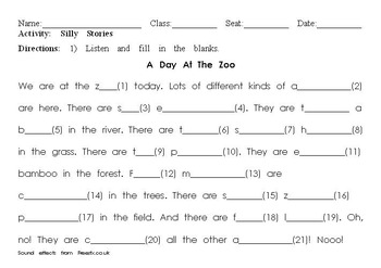 A Day At The Zoo: Listening Dictation And Silly Story (Mad Lib) For Animals