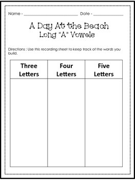 A Day At the Beach - Word Building Activities
