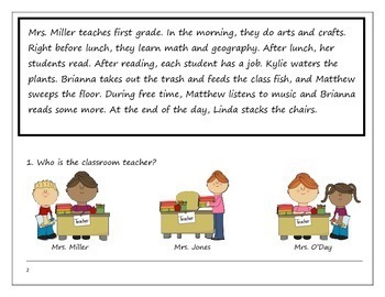 Reading Comprehension: A Day at School