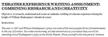 A Day at a Shakespearean Play! Narrative and Research Writing Assignment