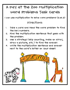 A Day at the Zoo Multiplication Word Problems Task Cards (3.OA.3)
