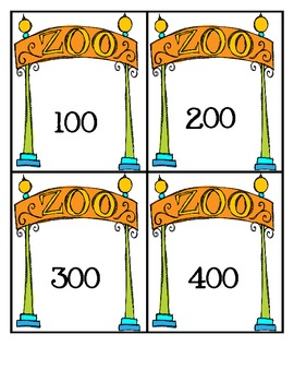 A Day at the Zoo Rounding to Nearest 100 Task Cards (3.NBT.1)