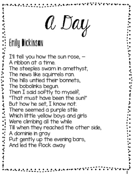 A Day by Emily Dickinson a poem analysis