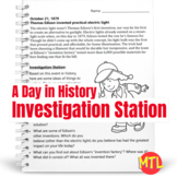 A Day in History – Investigation Station | October 21 Edison – Electric Light