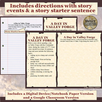 Valley Forge Short Story Writing Activity