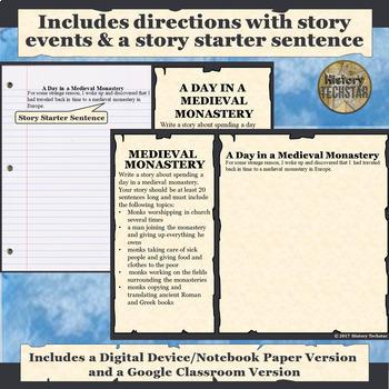 Medieval Europe Monastery Short Story Writing Activity