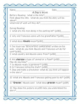 A Day's Work- Common Core Reading Guide and Activities